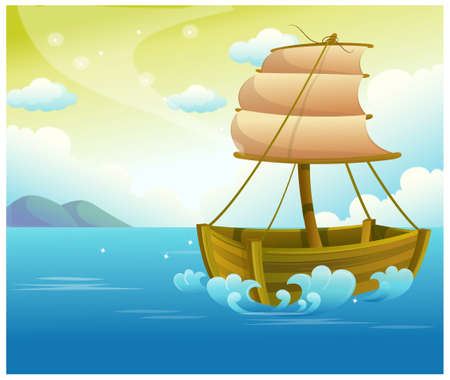 This illustration is a common natural landscape. Sailing Wooden Boat in Sea Stock Vector - 15900936