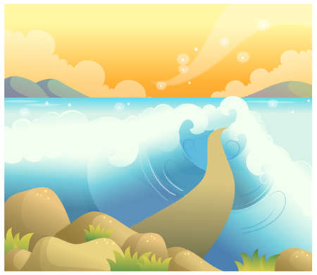 This illustration is a common natural landscape. Path over the sea Stock Vector - 15881758