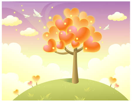 This illustration is a common natural landscape. Heart shape tree on top of the hill Stock Vector - 15901499