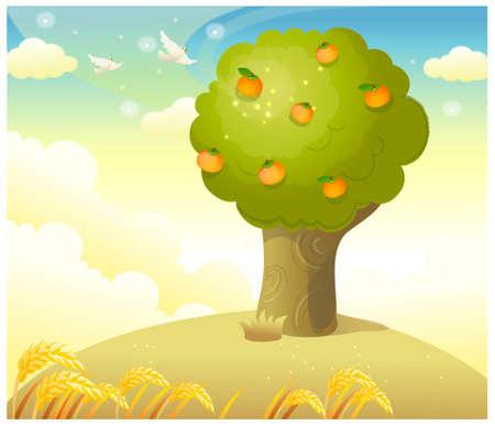 citrus tree: Esta ilustraci�n es un paisaje natural com�n. �rbol de naranjas