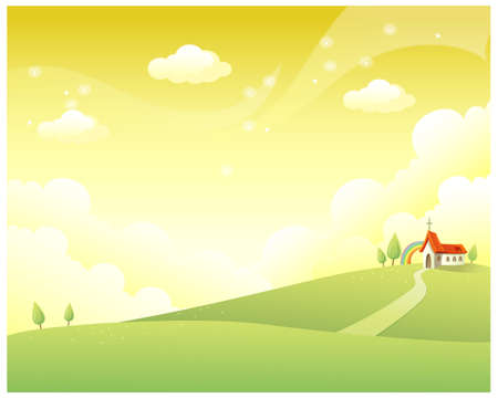 rolling landscape: This illustration is a common natural landscape. Rolling landscape and church