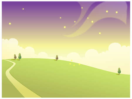 This illustration is a common natural landscape. Rolling Landscape and Sky Vector