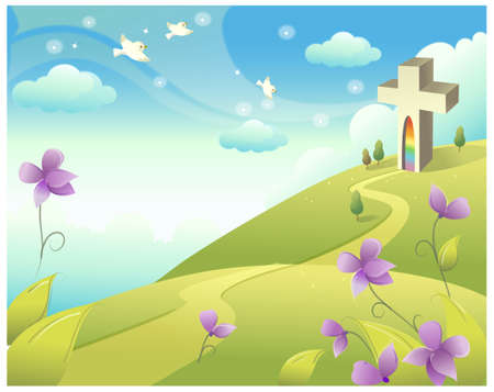 This illustration is a common natural landscape. Cross on rolling landscape  Vector