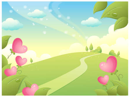 curved path: This illustration is a common natural landscape. Path over the Mountain and Sky