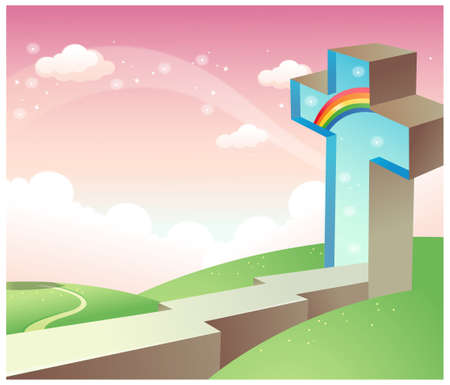 rolling landscape: This illustration is a common natural landscape. Cross on rolling landscape  Illustration