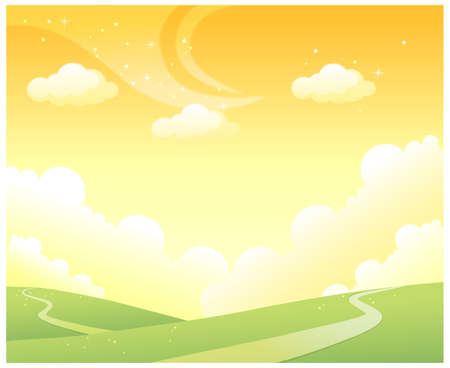 rolling landscape: This illustration is a common natural landscape. Rolling Landscape and Sky Illustration