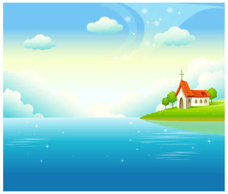This illustration is a common natural landscape. Water landscape and church Stock Vector - 15887400