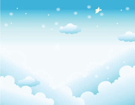 This illustration is a common natural landscape. Clouds in Sky Vector