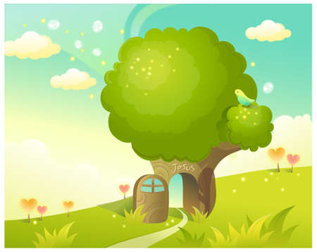 This illustration is a common natural landscape. Path through tree and Sky Stock Vector - 15901595