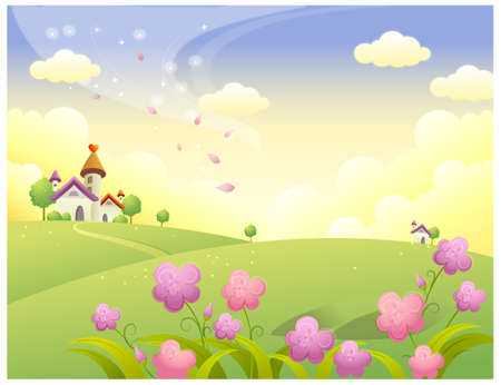 This illustration is a common natural landscape. Rolling landscape and house