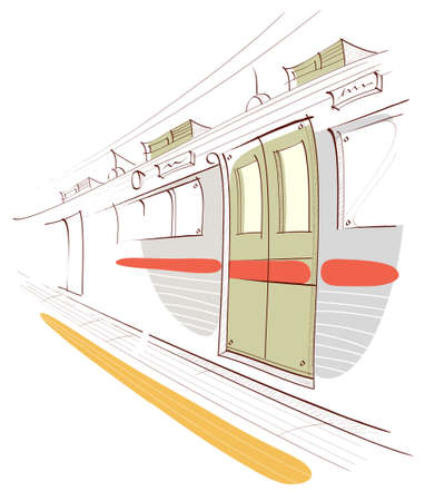 This illustration is a common cityscape. Underground train station platform and train Stock Vector - 15880921