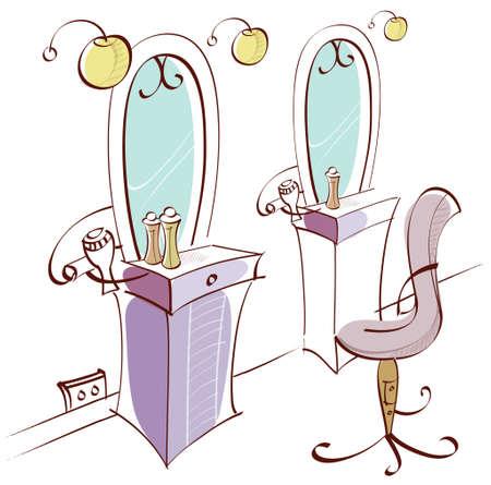 barber shop: Deze illustratie is een veel voorkomende stadsgezicht. Lege stoel in kapperszaak
