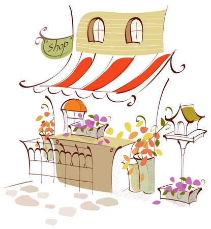 This illustration is a common cityscape. Flower shop exterior