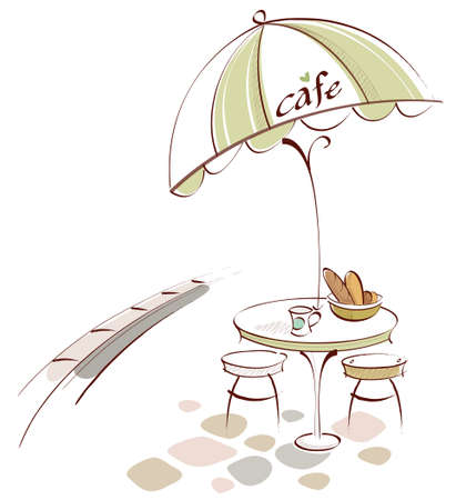 This illustration is a common cityscape. Table and Chair at outdoor cafe