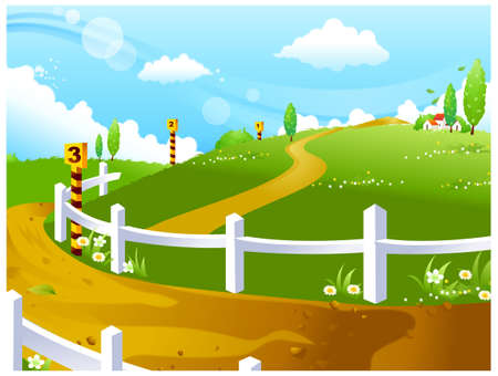 This illustration is a common natural landscape. Race course on green landscape Vector