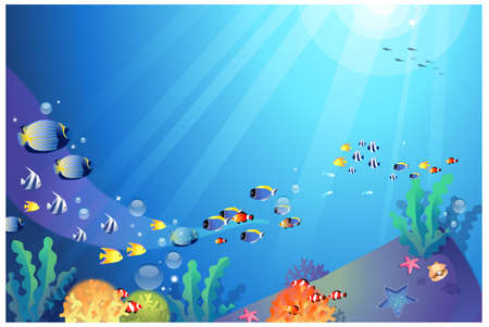 This illustration is a common natural landscape. Underwater sealife Vector