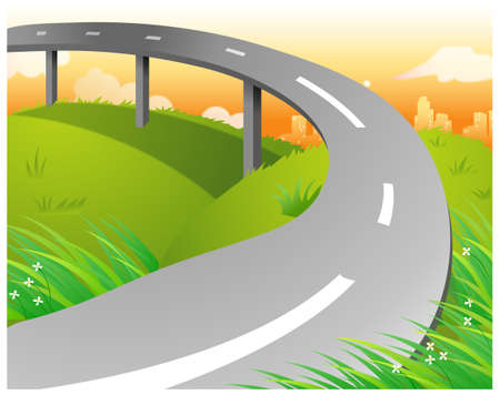 This illustration is a common natural landscape. Overpass over Green Landscape Stock Vector - 15881684