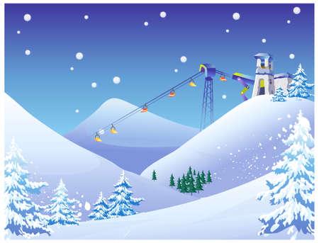 coberto de neve: Esta ilustra��o � uma paisagem natural comum. Sky Lift cadeiras em um resort de esqui de neve