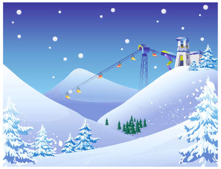 This illustration is a common natural landscape. Sky Lift chairs at a snow ski resort Vector