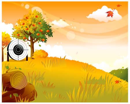 dramatic sky: Esta ilustraci�n es un paisaje natural com�n. Lugar diana de tiro con arco en el lado del �rbol frutal
