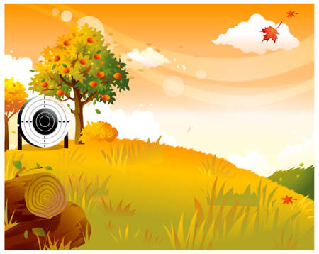 This illustration is a common natural landscape. Archery target place on the side of fruit tree Vector