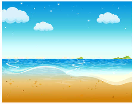 This illustration is a common natural landscape. A beautiful tropical beach with a blue sky Stock Vector - 15900963