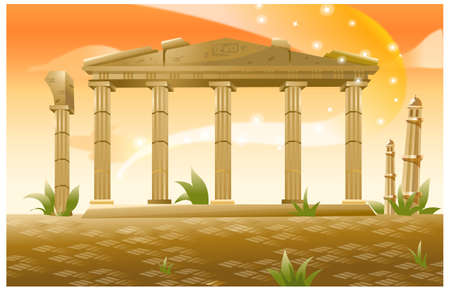 This illustration is a common natural landscape. Greece, Athens, Acropolis, Parthenon Stock Vector - 15901029