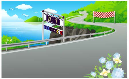 This illustration is a common natural landscape. Road on the bank of the lake Stock Vector - 15881823