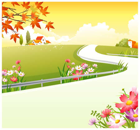 This illustration is a common natural landscape. Overpass over Green Landscape Stock Vector - 15901591