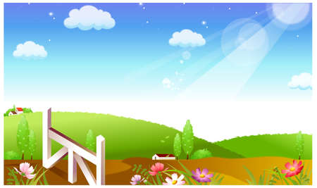 This illustration is a common natural landscape. Rural scene and Green Landscape Stock Vector - 15900983