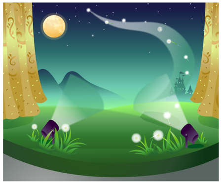 This illustration is a common natural landscape. Two Spot light over green landscape Stock Vector - 15901592