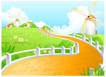 This illustration is a common natural landscape. Windmill Vector