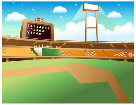 This illustration is a common natural landscape. Baseball Stadium Stock Vector - 15881430