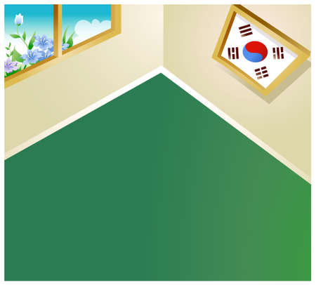 This illustration is a common natural landscape. Picture frame with logo on wall Vector