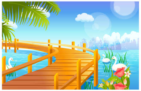 This illustration is a common natural landscape. Swan and jetty over lake Stock Vector - 15901146