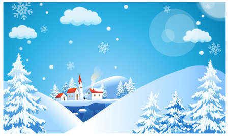 This illustration is a common natural landscape. Winter landscape with cottage Stock Vector - 15901169