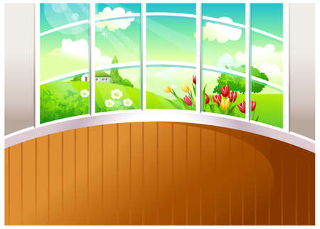 This illustration is a common natural landscape. Green landscape seen from window Stock Vector - 15881814