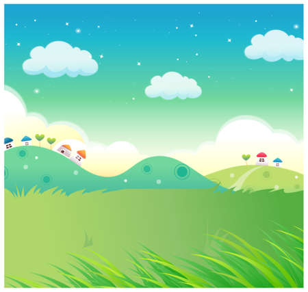 This illustration is a common natural landscape. House over Green mountain range Vector