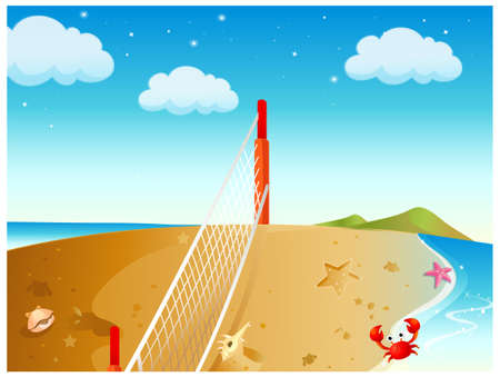 This illustration is a common natural landscape. Net On Beach and seashell Vector