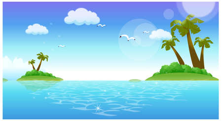 This illustration is a common natural landscape. Flamingos Flying over the sea Stock Vector - 15901094