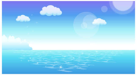 This illustration is a common natural landscape. Seascape Stock Vector - 15881435