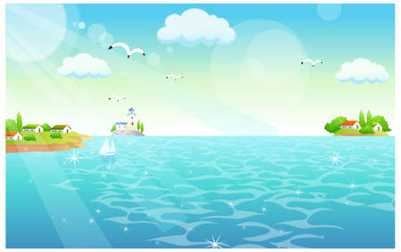 This illustration is a common natural landscape. Flamingos Flying over the sea Vector