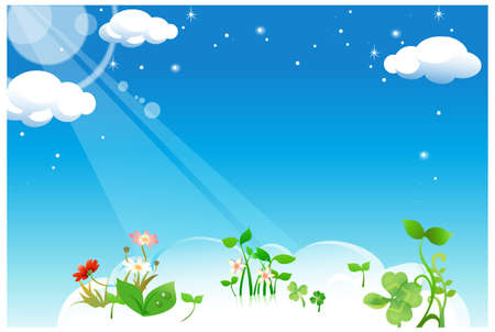 This illustration is a common natural landscape. Flowers plant in clouds Stock Vector - 15881437