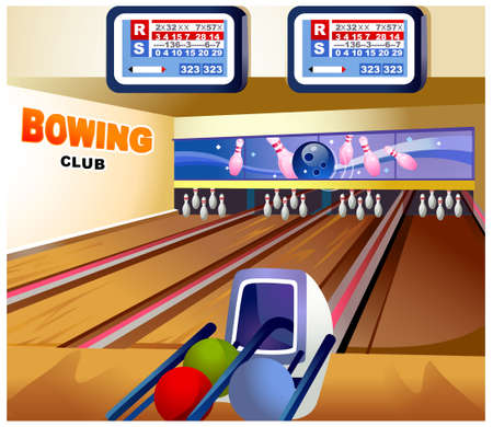 western script: This illustration is a common natural landscape. Bowling alley Illustration
