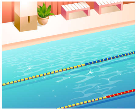 This illustration is a common natural landscape. Indoor swimming pool Stock Vector - 15881780