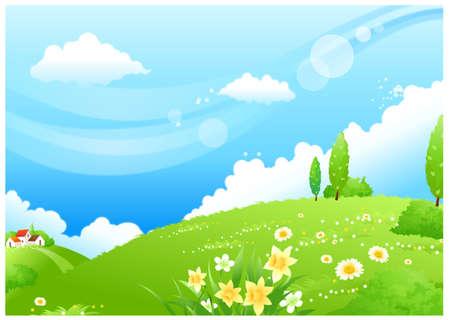 rolling landscape: This illustration is a common natural landscape. Rolling landscape and blue sky Illustration