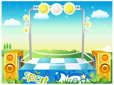 This illustration is a common natural landscape. Empty boxing ring on green landscape Stock Vector - 15881784