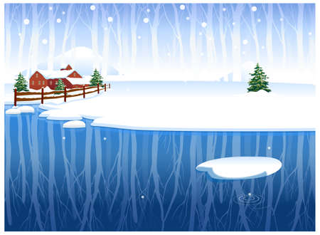 This illustration is a common natural landscape. Winter rural scene Stock Vector - 15881813