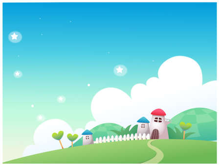 This illustration is a common natural landscape. Rural scene Stock Vector - 15881440