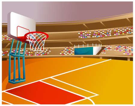 terrain de basket: Cette illustration est un paysage naturel commun. Basket-ball stade